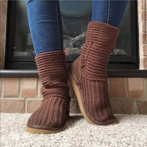 Brown crocheted women's size 8 UGG boots